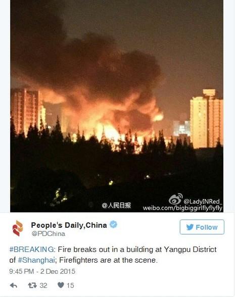 Trung Quốc: Cháy kinh hoàng tại chợ ở Thượng Hải - ảnh 1