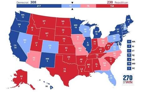 TS Matthew dự báo bà Clinton thắng 308 phiếu đại cử tri (màu xanh).