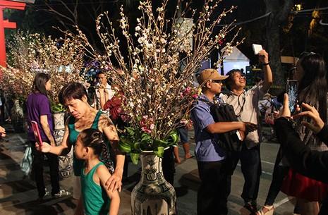 Bí thư Đinh La Thăng chụp ảnh với dân bên hoa anh đào - ảnh 8