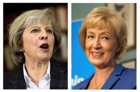 Bà Theresa May (trái) và bà Andrea Leadsom.