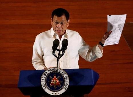 Tổng thống Rodrigo Duterte trình bày thông điệp nhà nước tại Quốc hội ở Manila (Philippines) chiều 25-7.