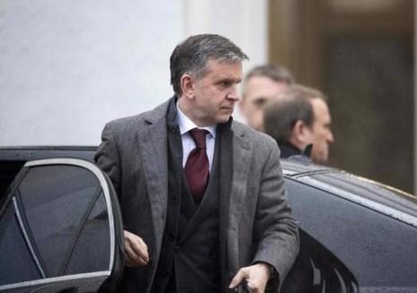 Ông Mikhail Zurabov, cựu đại sứ Nga tại Ukraine đến tham gia cuộc đàm phán hòa bình ở Minsk (Belarus) ngày 31-1-2015.