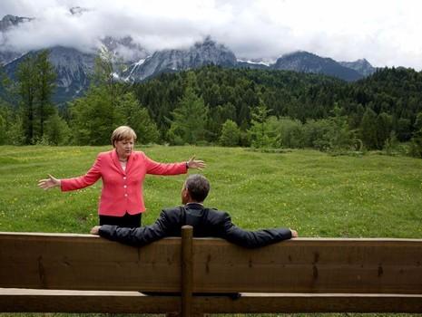 Tổng thống Obama và Thủ tướng Đức Angela Merkel trong một kỳ hội nghị G7 tại Đức ngày 8-7-2015.