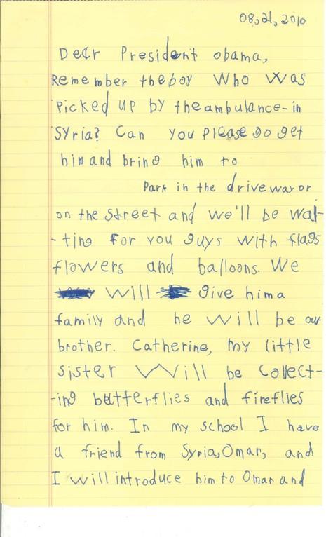 Cậu bé 6 tuổi xin Obama cho nhận nuôi em bé Syria - ảnh 2