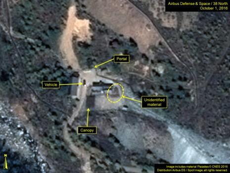 Hình ảnh vệ tinh chụp lại khu vực cổng bắc của khu thử nghiệm Punggye-ri gần đây.