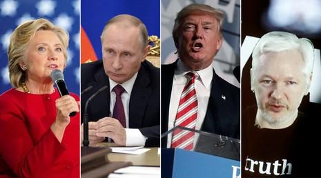 ứng viên tổng thống Dân chủ Clinton, Tổng thống Nga Putin, ứng viên tổng thống Cộng hòa Trump, người sáng lập Wikileaks Julian Assange.