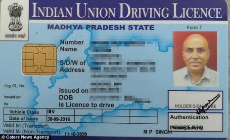 Bằng lái của anh Vikram Agnihotri.
