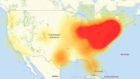 Một phần lớn nước Mỹ (màu đỏ) không thể truy cập vào rất nhiều trang mạng thông dụng trong ngày 21-10.