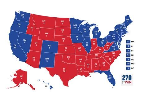 Bản đồ kết quả bầu cử tổng thống Mỹ năm 2012.