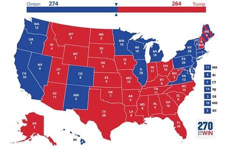 Bản đồ dự báo bà Clinton thắng 274 phiếu đại cử tri.