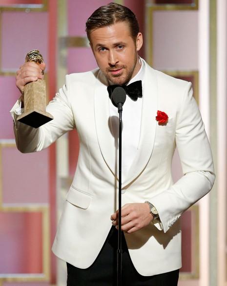 Ryan Gosling tại buổi lễ, đoạt giải Nam diễn viên chính xuất sắc thể loại hài hoặc nhạc kịch. Ảnh: USA TODAY