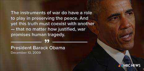 Tổng thống Obama phát biểu nhận giải thưởng Nobel Hòa bình ngày 10-12-2009.