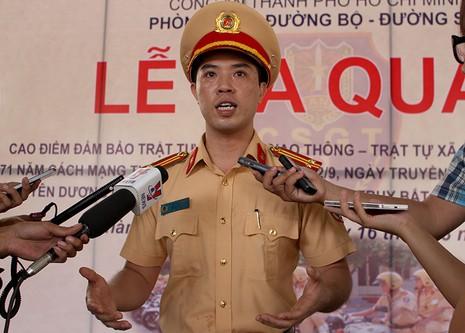 Trung tá Huỳnh Trung Phong – Phó Trưởng phòng Phòng CSGT Đường bộ - Đường sắt (PC67) Công an TP.HCM
