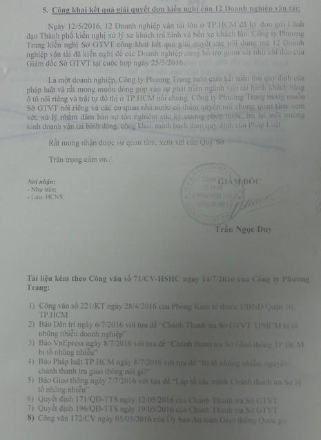 Văn bản tố cáo tiếp do Công ty Phương Trang đứng đơn