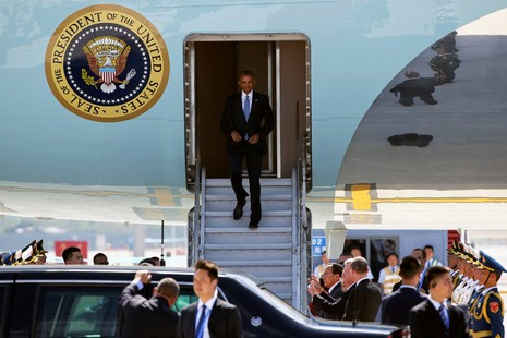 obama xuống sân bay Hàng Châu
