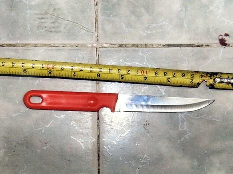 Con dao Hiếu sử dụng tạo nhiều vết thương trên người cha ruột của mình.