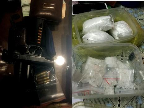 Một khối lượng lớn ma túy và súng đạn bị phát hiện, thu giữ.