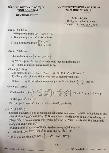 Sở Giáo dục Đồng Nai giải thích về đề thi vào lớp 10 môn toán - ảnh 1
