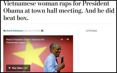 """Tờ Washington Post (Mỹ) đăng bài """"Cô gái Việt đọc rap trước Tổng thống Obama tại phòng hội nghị, và ngài trình diễn beatbox""""."""