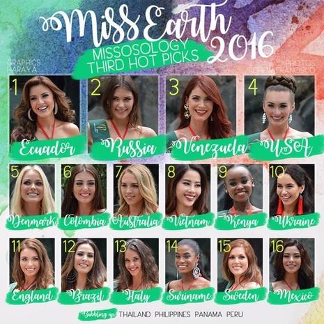 Trước đó, đại diện Việt Nam - Nam Em được các chuyên gia của Missosology đưa vào danh sách top 10 những thí sinh sáng giá nhất tại cuộc thi Hoa hậu Trái đất 2016 đang diễn ra tại Philippines. Nam Em ở vị trí thứ 8.