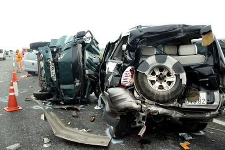 Hiện trường vụ tai nạn 5 ô tô trên cao tốc hôm 28/9 khiến 2 người chết. Ảnh: Hải Hiếu