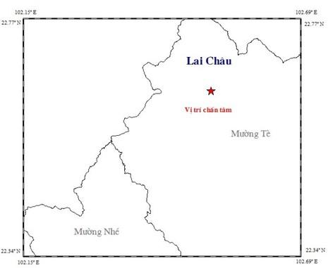 Vị trí xảy ra động đất tại Mường Tè, Lai Châu ngày 2-1 - Ảnh: Trung tâm Báo tin động đất và cảnh báo sóng thần