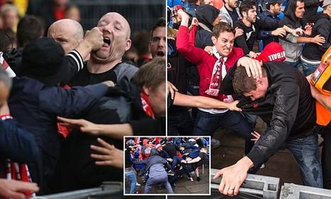 CĐV 'choảng' nhau tưng bừng trước trận chung kết Europa League - ảnh 1