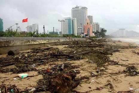 Bãi biển Nha Trang ngập rác trong những ngày mưa - ảnh 2