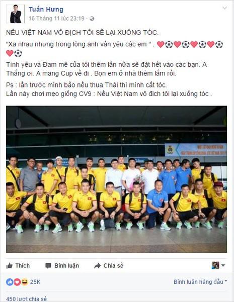 Ca sĩ Tuấn Hưng hứa xuống tóc nếu Việt Nam vô địch - ảnh 2