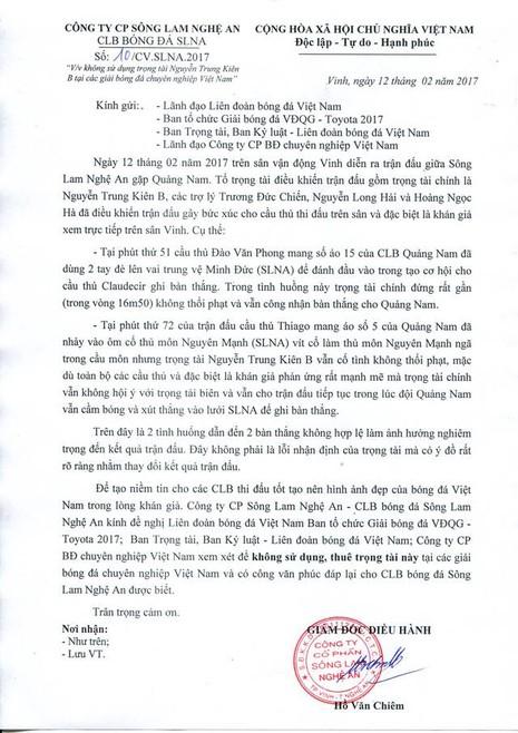 SL Nghệ An yêu cầu VFF treo còi trọng tài - ảnh 1