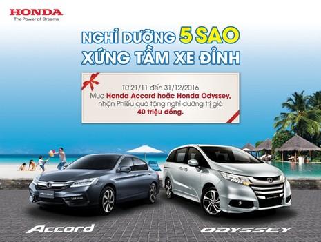 """Honda khuyến mãi """"Nghỉ dưỡng 5 sao - Xứng tầm xe đỉnh"""" - ảnh 1"""