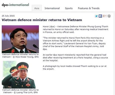 Hãng tin DPA nhận lỗi đưa tin sai về Bộ trưởng Phùng Quang Thanh - ảnh 1