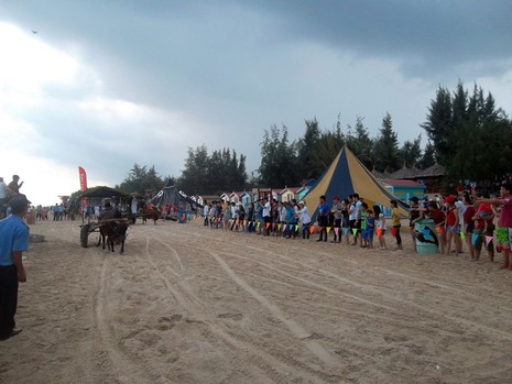 Độc đáo cuộc đua xe bò trên bãi biển ở La Gi - ảnh 1