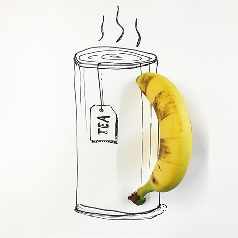 Những bức tranh minh họa hài hước được vẽ từ chuối - ảnh 9