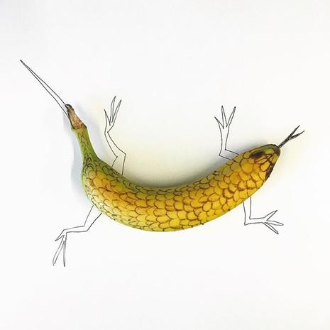 Những bức tranh minh họa hài hước được vẽ từ chuối - ảnh 13