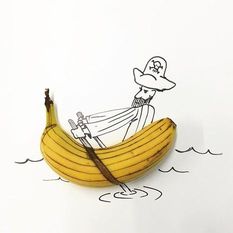 Những bức tranh minh họa hài hước được vẽ từ chuối - ảnh 7