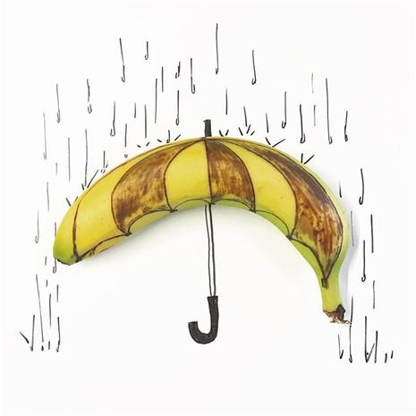 Những bức tranh minh họa hài hước được vẽ từ chuối - ảnh 6