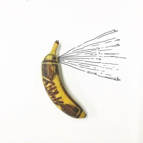 Những bức tranh minh họa hài hước được vẽ từ chuối - ảnh 4