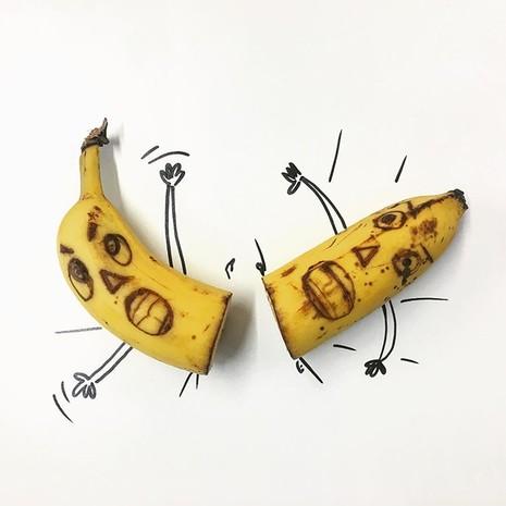 Những bức tranh minh họa hài hước được vẽ từ chuối - ảnh 1