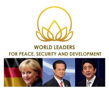 Ba nhà lãnh đạo thế giới được BGF vinh danh năm nay (từ trái qua): Thủ tướng Đức Angela Merkel, Thủ tướng Việt Nam Nguyễn Tấn Dũng, Thủ tướng Nhật Bản Shinzo Abe. Ảnh: BGF