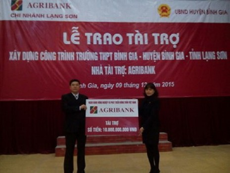Agribank: tài trợ 10 tỷ đồng xây dựng trường học - ảnh 1