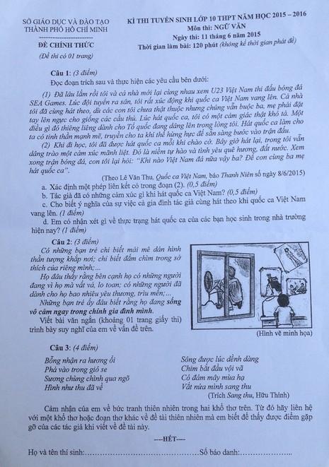 Khác biệt giữa đề thi Văn lớp 10 ở Hà Nội và TP.HCM  - ảnh 1