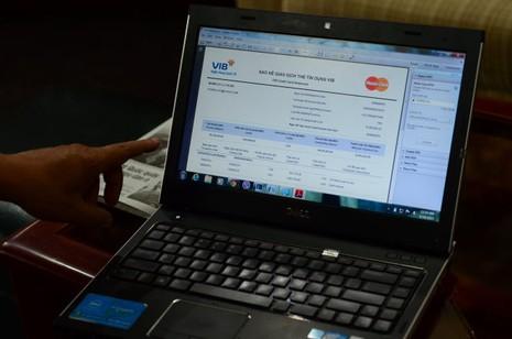 Thư điện tử sao kê giao dịch thẻ tín dụng VIB gửi đến khách hàng Hồ Lê Phong - Ảnh: Thanh Tùng