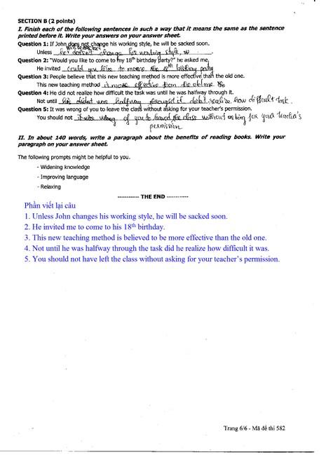 Xem đề thi, gợi ý bài giải môn Anh văn  - ảnh 6