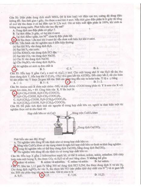 Đề thi và gợi ý bài giải môn Hóa Học - ảnh 3