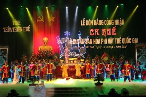 Ca Huế đón nhận bằng công nhận Di sản Văn hóa phi vật thể quốc gia - ảnh 1