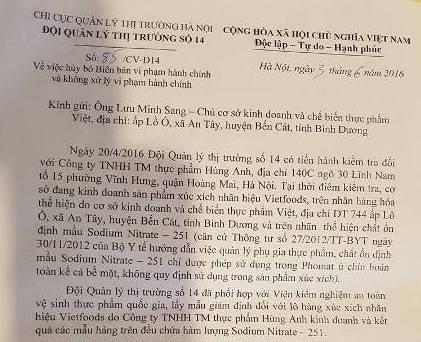 Vụ Viet Foods: QLTT hủy bỏ biên bản sai sau chỉ đạo của Thủ tướng  - ảnh 1