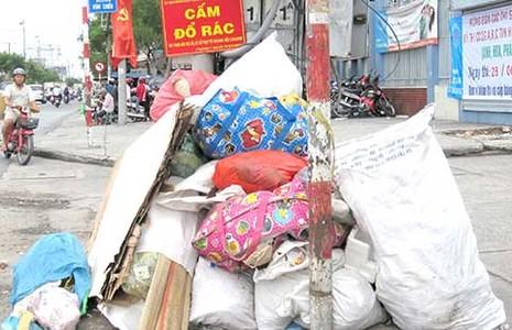 Đổ rác bừa bãi trước trường học - ảnh 1
