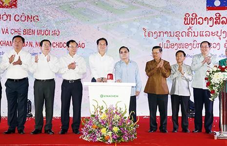 Thủ tướng dự lễ khởi công dự án muối mỏ kali tại Lào - ảnh 1