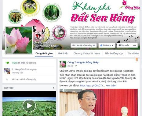 Đồng Tháp chỉ đạo trả lời phản ánh người dân qua Facebook - ảnh 1